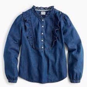 J crew ruffle denim popover shirt